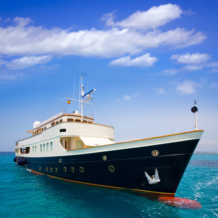 turquise: Illetes Illetas Formentera yacht anchored in turquise Balearic Mediterranean