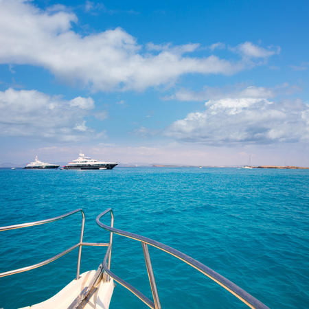 turquise: Illetes Illetas Formentera yacht sailboats anchored in turquise Mediterranean Stock Photo