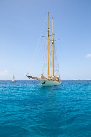 turquise: Illetes Illetas Formentera yacht sailboat anchored in turquise Mediterranean