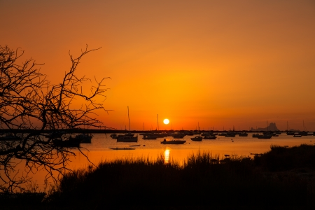 Formentera sunset in Estany des Peix boats with Ibiza Es vedra in Background photo
