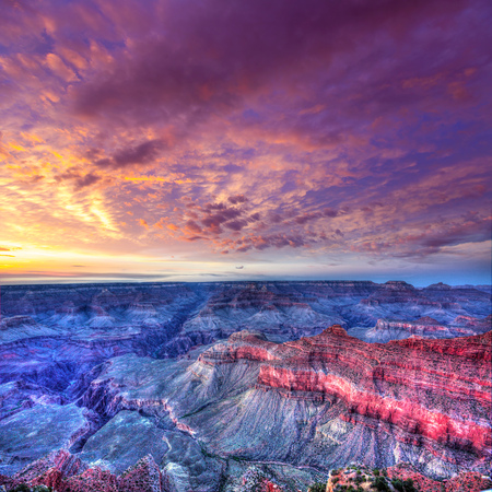 geologic: Arizona sunset Grand Canyon National Park Mother Point in USA Stock Photo