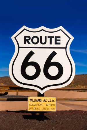 interstate: Route 66 road sign in Williams Arizona USA