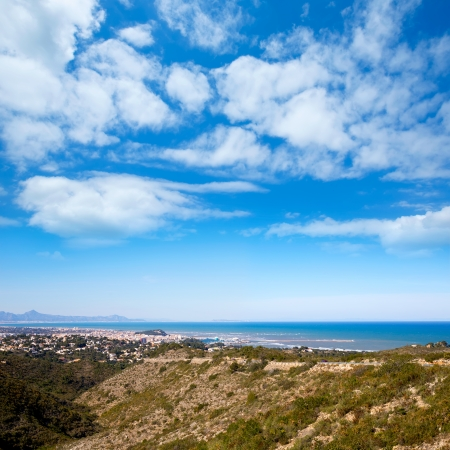denia in Alicante aerial view Valencian Community of spain with Mediterranean sea photo