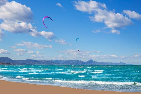 alicante: Kite surf in Denia Oliva Gandia in Valencian Community at Mediterranean sea Stock Photo