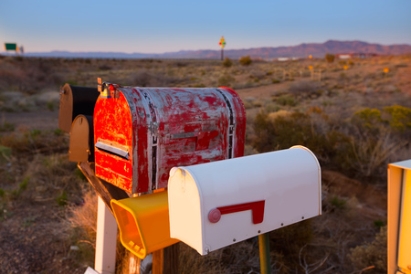 mojave: Grunge mail boxes in a row at Arizona desert USA