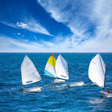 watersports: Little sailboats Optimist learning to sail in Mediterranean at Denia Alicante
