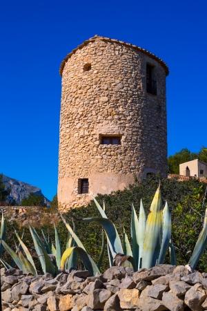 alicante: Javea denia San antonio Cape old windmills masonry structure in Alicante province spain Stock Photo
