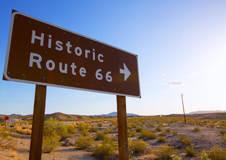 Historic route 66 road sing in Mohave Desert of California USA photo