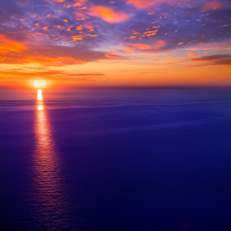 sunset sunrise over blue Mediterranean sea Imagens