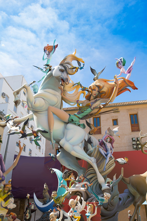 fallas: Fallas is a popular fest in Valencia Spain with figures that will be burned in March 19 night