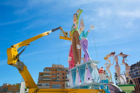 Detail of Fallas construction with crane in Campanar Valencia Spain