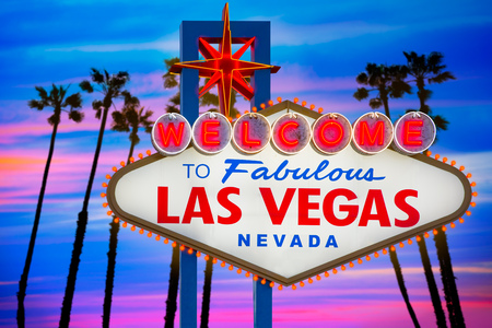 vegas sign: Welcome to Fabulous Las Vegas sign sunset with palm trees Nevada photo mount