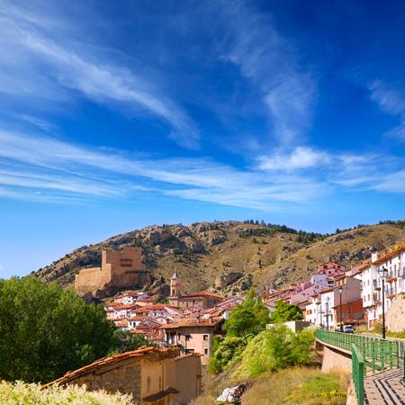 ski slopes: Alcala de la Selva a Teruel villaggio vicino a piste da sci della Virgen de la Vega in Spagna Archivio Fotografico
