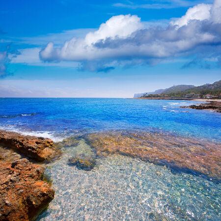 sights: Denia Alicante Las rotas rocky beach in Spain and San Antonio Cape