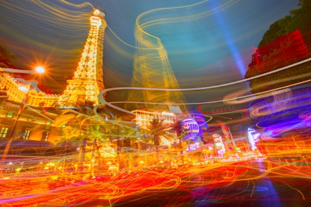 Editorial use only Paris Las Vegas Nevada Strip at night in 2013 spring photo