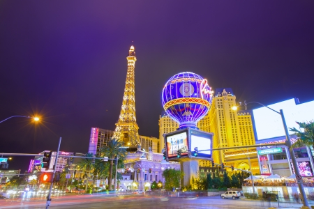 Editorial use only Paris Las Vegas Nevada Strip at night in 2013 spring