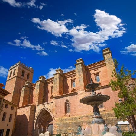xv century: Mora de Rubielos Teruel church of XV century with fountain in Spain