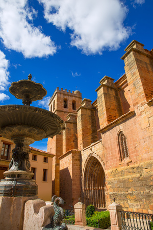 Mora de Rubielos Teruel church of XV century with fountain in Spain photo