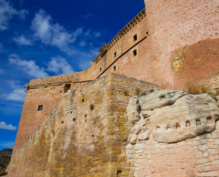Mora de Rubielos Teruel Muslim Castle in Aragon Spain under blue sunny sky