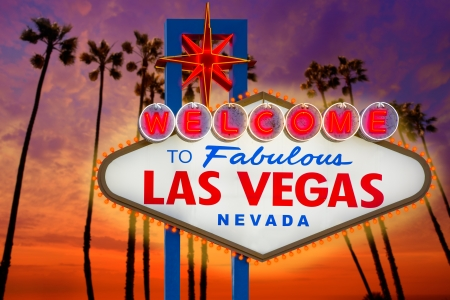 las vegas lights: Welcome to Fabulous Las Vegas sign sunset with palm trees Nevada photo mount