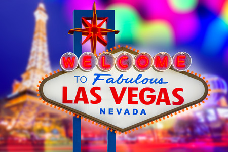 las vegas strip: Welcome to Fabulous Las Vegas sign sunset with Strip background Nevada photo mount