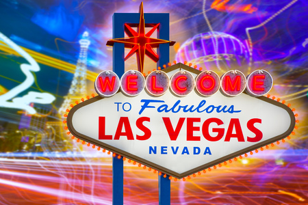 Welcome to Fabulous Las Vegas sign sunset with Strip background Nevada photo mount photo