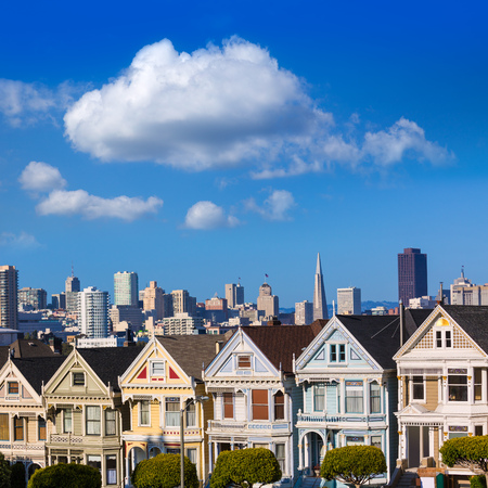 San Francisco Victorian houses in Alamo Square at California USA photo
