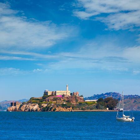 ancient prison: Alcatraz island penitentiary in San Francisco Bay California USA view from Pier 39