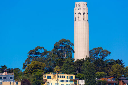coit tower: Coit Tower San Francisco California in a blue sky day USA