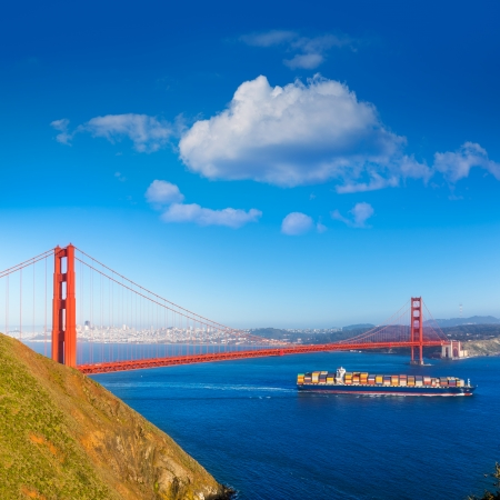 San Francisco Golden Gate Bridge merchant ship in California USA Stock Photo - 25138676