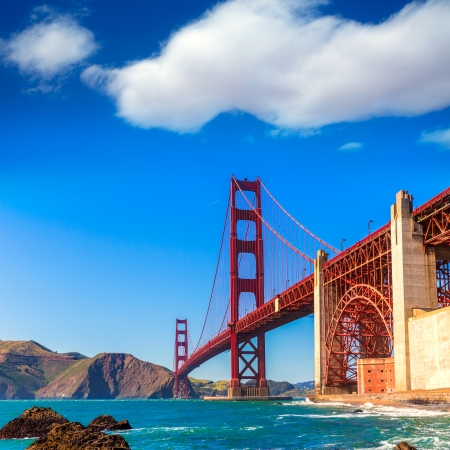 marshall: San Francisco Golden Gate Bridge GGB from Marshall beach in California USA