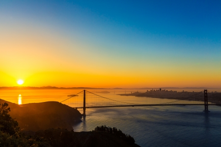 San Francisco Golden Gate Bridge sunrise California USA from Marin headlands photo