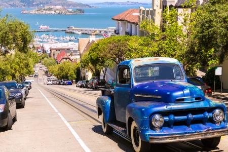 hyde: San Francisco Hyde Street and vintage car with Alcatraz California USA