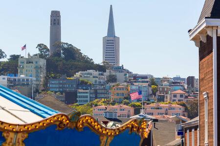 coit: San Francisco city and Coit Tower from a fairground California USA Stock Photo