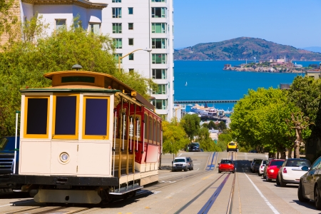 tramcar: San francisco Hyde Street Cable Car Tram of the Powell-Hyde in California USA