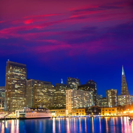San Francisco sunset skykine from Pier 7 in California USA