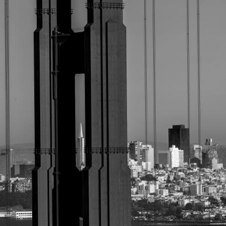 san francisco golden gate bridge: San Francisco Golden Gate Bridge view through cables in California USA