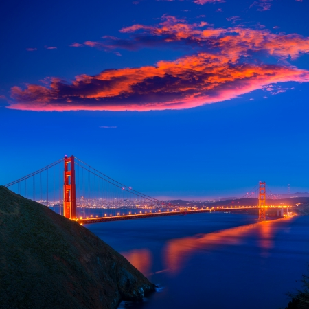 San Francisco Golden Gate Bridge sunset California USA photo