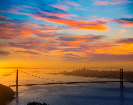 Golden Gate Bridge San Francisco sunrise California USA from Marin headlands photo