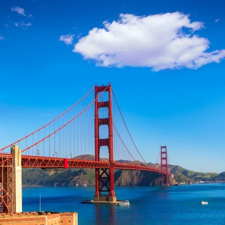 Golden Gate Bridge San Francisco from Presidio in California USA photo