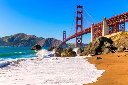 san francisco golden gate bridge: San Francisco Golden Gate Bridge GGB from Marshall beach in California USA