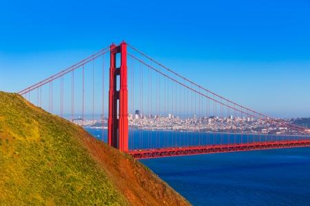 san francisco golden gate bridge: San Francisco Golden Gate Bridge GGB from Marin headlands in California USA Stock Photo