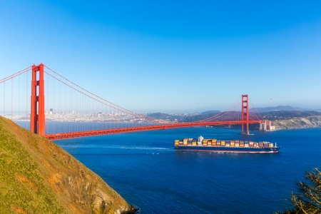 San Francisco Golden Gate Bridge merchant ship in California USA Stock Photo - 25146569