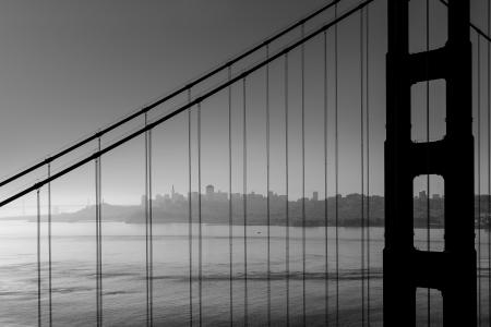 san francisco golden gate bridge: San Francisco Golden Gate Bridge black and white California USA