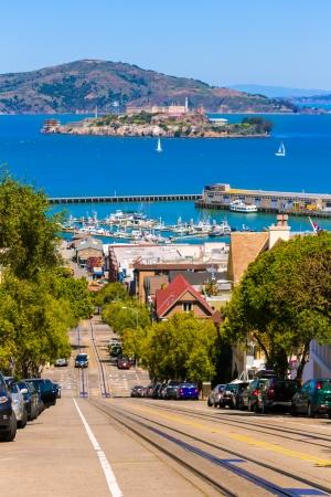 ancient prison: San francisco Hyde Street and Alcatraz Penitenciary California USA Stock Photo