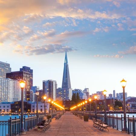 アメリカ カリフォルニア州サン Francisco 桟橋 7 サンセット 写真素材