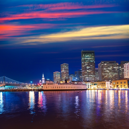 San Francisco sunset skykine from Pier 7 in California USA photo