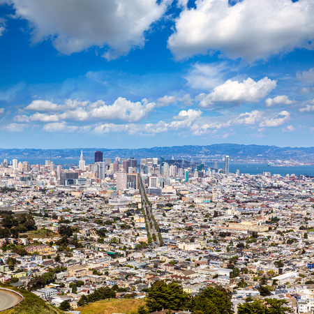 ca: San Francisco skyline from Twin Peaks in California USA high angle view