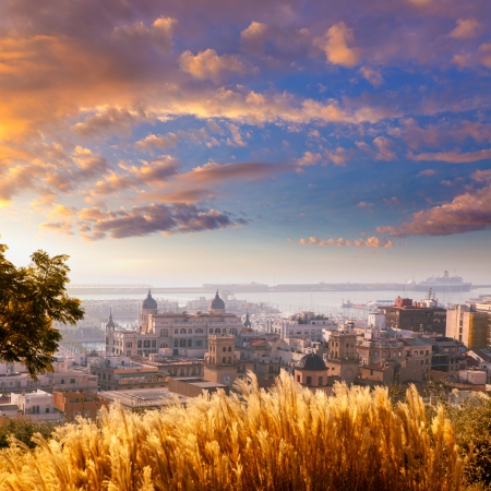 valencian: Alicante cityscape skyline in mediterranean sea Valencian Community of spain
