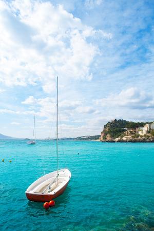 altea: Altea Mediterranean sea detail with sailboat in alicante Spain